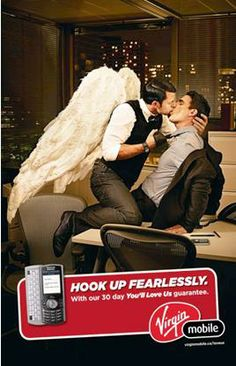 "Virgin Mobile Canada is looking to wish us gays a happy holiday season as well as good sex. Ad agency Juniper Park has created a new campaign for the Virgin encouraging consumers to ""hook up fearlessly"" with secret lovers during the holidays — and one ad shows two men kissing at the office. Virgin says the gay kiss will run nationally. - See more: http://www.akawilliam.com/virgin-mobile-wants-you-to-have-fearless-gay-sex-for-the-holidays"