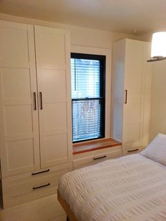 The Little NoPo Farmhouse / IKEA PAX Built-ins - no directions :( but looks like they installed pax on top of drawers. Bedroom Built Ins, Closet Bedroom, Bedroom Storage, Seat Storage, Ikea Wardrobe, Built In Wardrobe, Entryway Decor, Bedroom Decor, Build A Closet