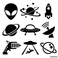DOWNLOAD THIS VECTOR GRAPHIC DESIGN FROM FOTOLIA: aliens, space, icons, mothership, radar, planet, saturn, ufo, rocket