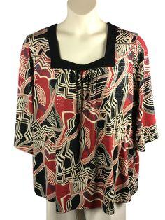 e01857670b71c Womens Maggie Barnes Blouse Plus Size 2X Black Red 3 4 Sleeves Square  Neckline