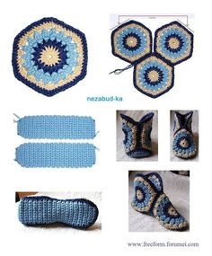 Good Ideas For You | DIY crochet slippers http://priscillascrochet.net/free%20patterns/Wearables/Hexagon%20Boot%20Slippers.pdf
