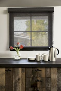 Classic Roller Shade in Sheer Flax/Graphite 16422 #Kitchen #Reclaimedwood #Windowtreatment