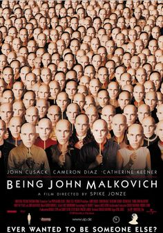 """Being John Malkovich - Spike Jonze 1999 - DVD05888 -- """"An out-of-work puppeteer takes a filing clerk job on the cramped seventh floor of an office building where he discovers a hidden tunnel allowing him to enter the mind and life of actor John Malkovich for 15 minutes before being ejected onto the New Jersey Turnpike."""""""