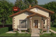Proiecte de case mici pe un singur nivel - Case practice Modern Bungalow House Design, Small House Design, Design Case, Home Fashion, House Front, Tiny House, Home Goods, Shed, Exterior