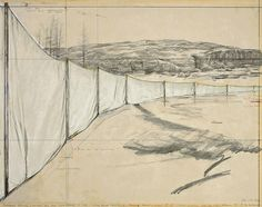 'Running Fences (Project for the West Coast of USA),' 1972, by Christo. Collage: pencil, charcoal, wax crayon, fabric & staples, 22 x 28 in. via the artist's site