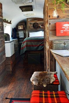 Before & After: An Airstream Trailer Gets A Rustic Overhaul  We have the perfect fabrics to create a similar look in your home: http://bit.ly/1Ernboj