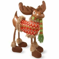 NATIONAL TREE CO National Tree Co. Polyester Moose With Jacket Animal Figurines