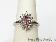 Vintage 14k White Gold Natural Ruby Marquise Gen. Diamond Cocktail Cluster Ring #ClusterCocktail
