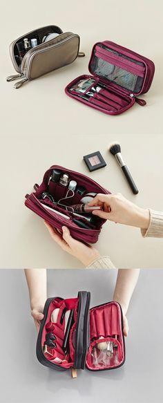 Double Zip Cosmetic Pouch Makeup Bag Organization, Organization Skills,  Travel Organization, Pouch Bag 96aecf0556