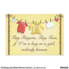 Clothing Line Baby Shower Invitation - Clothing Line Baby Shower Invitation - Gender neutral Baby shower invitation. Polka dot yellow and white invitation with brown lace and pretty cute clothing line with little gender neutral baby clothes and a message that says: Tiny fingers, tiny toes, if I'm a boy or a girl, nobody knows.