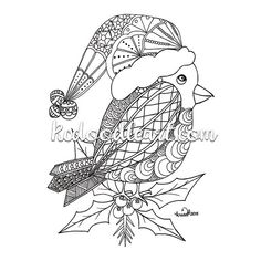 Instant Digital Download Coloring Page Christmas Doodles Red Robin Inspired