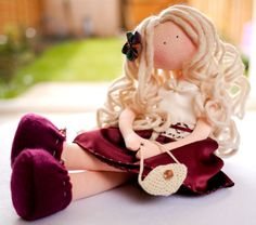 Sue Rag Doll in Cherry Red and Cream dressHome by MintyClub.....(a relaxing beauty!)....
