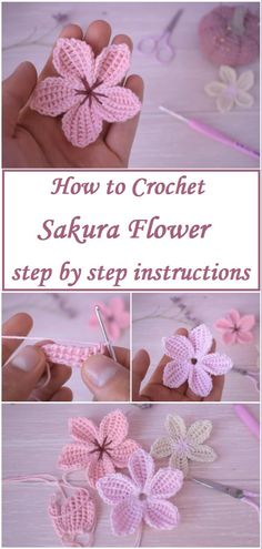 Crochet Sakura Flower Sakura flower is one of the most beautiful and cute flowers out there. Learn to crochet the sakura flower with the help of the step by step instructions Crochet Motifs, Crochet Flower Patterns, Crochet Stitches Patterns, Crochet Flowers, Knitting Patterns, Knit Crochet, Crochet Appliques, Easy Crochet Flower, Crochet Flower Tutorial