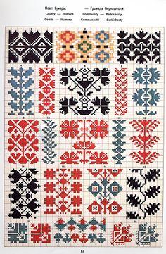FolkCostume&Embroidery: May 2016 Cross Stitch Borders, Cross Stitch Designs, Cross Stitching, Cross Stitch Patterns, Palestinian Embroidery, Hungarian Embroidery, Folk Embroidery, Chain Stitch Embroidery, Embroidery Stitches