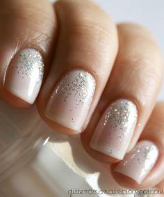 White and silver glitter nail art. #nails #nailart #nailpolish #manicure