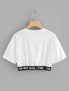 Camiseta corta con estampado de slogan-Spanish SheIn(Sheinside) Short t-shirt with slogan print-Spanish SheIn (Sheinside) Cute Lazy Outfits, Crop Top Outfits, Pretty Outfits, Stylish Outfits, Cool Outfits, Girls Fashion Clothes, Teen Fashion Outfits, Jugend Mode Outfits, Belly Shirts
