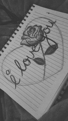 I love you lettering rose heart art