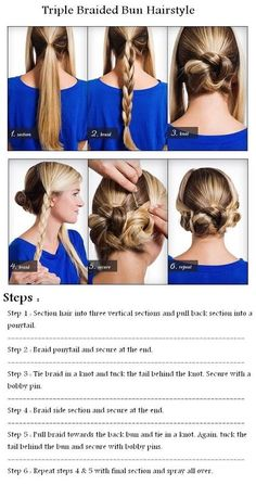 Triple Braided Bun Hairstyle - Tried this today, loved it!