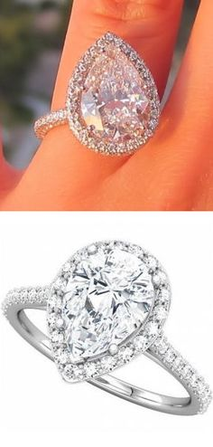 Pear Shaped Halo Diamond Ring ♥ {teardrop of Happiness} #love