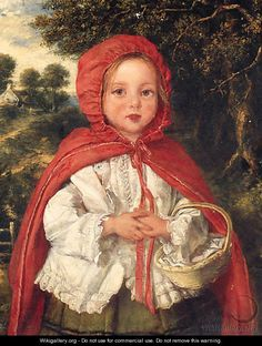 Little Red Riding Hood oil painting by William Hemsley, The highest quality oil painting reproductions and great customer service! Image Halloween, Red Ridding Hood, Charles Perrault, Images Vintage, Vintage Fairies, Fairytale Art, Red Hood, Children's Literature, Children's Book Illustration