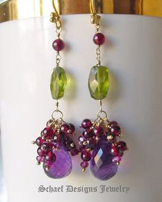 Ametyst garnets & peridot gemstone earrings by Schaef Designs Jewelry