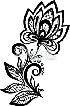 black and white floral pattern design element. Royalty Free Stock Vector Art Illustration