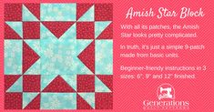 The Amish Star quilt block starts here...