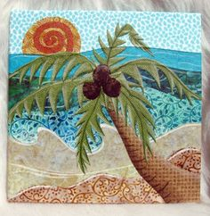 Caribbean Palm Tree - fabric collage wall art - NO FRAME NEEDED little lion designs on etsy Beach Quilt, Ocean Quilt, Wall Collage, Wall Art, Applique, Art And Hobby, Fabric Postcards, Hawaiian Quilts, Collage Making