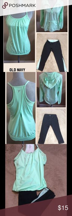 Old Navy workout bundle Old Navy Active line clothing.  All pieces are size small. This listing is for a wind breaker jacket, tank top and Capri pants!! Old Navy Other
