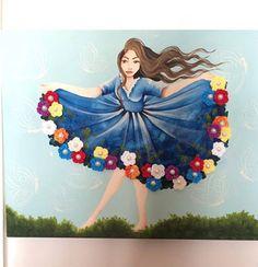 Mulher do vestido florido - Tela em MDF, 30x40cm, pintura com tinta PVA/acrílica e flores de crochet.