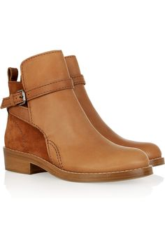 Acne|Clover brushed-leather and suede boots|NET-A-PORTER.COM