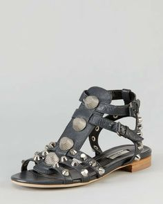 Balenciaga Nickel Studded Gladiator Sandal, Black on shopstyle.com