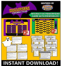 Our Halloween Family Feud game comes ready to play as an interactive Powerpoint - play it on your smart TV with the friends and family for some Halloween fun. Mickey Halloween Party, Halloween Labels, Halloween Treats, Halloween Parties, Halloween 2015, Superhero Party, Halloween Decorations, Happy Halloween Pictures, Halloween Images