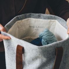 Twig & Horn's Wool Project Tote is the utility bag for needle crafters - big and sturdy enough for larger projects and even grocery runs, but not so big that your smaller projects and tools will get l