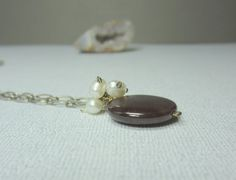 Garnet Penant Necklace, Garnet and Pearl Necklace, Pearl Cluster Necklace
