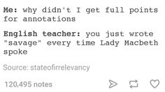 Lady Macbeth had no chill