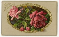Antique Greetings Postcard Pink Red Colored Roses Flowers Inside Gold Oval | eBay
