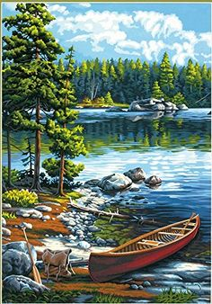 After a scenic paddle trip, a traveler's canoe rests on the rocky edge of a crystal clear lake. From #Dimensions #Paint Works, Canoe by the Lake paint by number l...