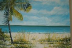 Day at the Beach Oil Painting original work of art by MARVINSTUDIO, $85.00 19 x 24 inch