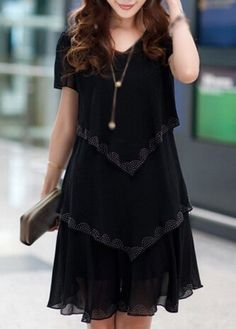 Black V Neck Tiered Chiffon Dress | liligal.com - USD $30.16