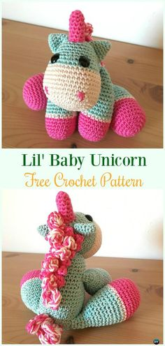 Crochet Lil' Baby Unicorn Amigurumi Free Pattern- #Amigurumi Crochet #Unicorn; Toy Softies Patterns