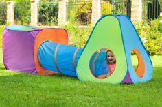 Krásný dětský stan PlayTo 3v1 je trojdílnou sadou, skládájící se ze dvou samostatných stanů propojených plazícím tunelem. Park, Products, Parks, Gadget