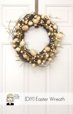 Easy Easter Crafts - Spring Crafts - Good Housekeeping: Just head to your local craft store and pick up an egg garland and a grapevine wreath. Intertwine the two and show off your new decoration. Wreath Crafts, Diy Wreath, Grapevine Wreath, Wreath Ideas, Wreath Making, Hoppy Easter, Easter Eggs, Easter Wreaths, Christmas Wreaths