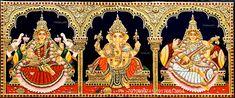 Tanjore Painting, Ganesha Art, Hindu Art, Sacred Art, Paint Designs, Indian Art, Artworks, Folk, Art Gallery