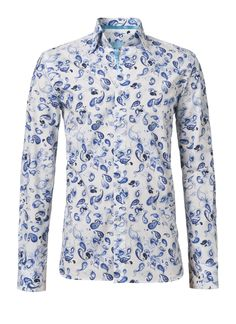 This is a nice white shirt with a separate blue print. There are all blue feathers on. It is a unique shirt.  This shirt costs now € 139.95.