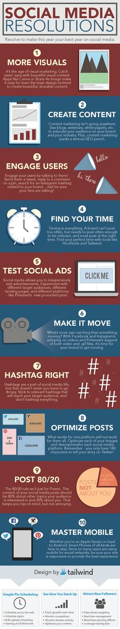 Social Media New Year's Resolutions [INFOGRAPHIC] | Tailwind Blog: Pinterest Analytics and Marketing Tips, Pinterest News - Tailwindapp.com