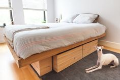 Raw Solid Antique Pine Platform Bed with storage by INSEKDESIGN