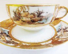 Vintage SHOFU Porcelana fina 24kt oro pintado a mano escénico japonés de té y platillo