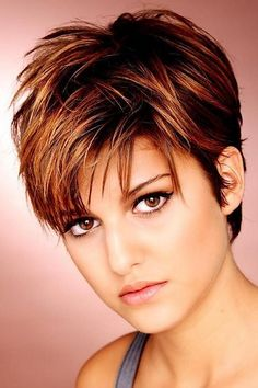 short brown haircut   short hair cut with highlights. Auburn…   Flickr