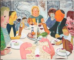 """""""Seder,"""" a painting by Nicole Eisenman that is included in an exhibit at the Jewish Museum in New York exploring the impact of feminism, is seen in this undated handout. REUTERS/The Jewish Museum Jewish Art, Religious Art, Jewish Seder, Jewish Food, Modern Art, Contemporary Art, New York Exhibitions, Jewish Museum, Museum Exhibition"""